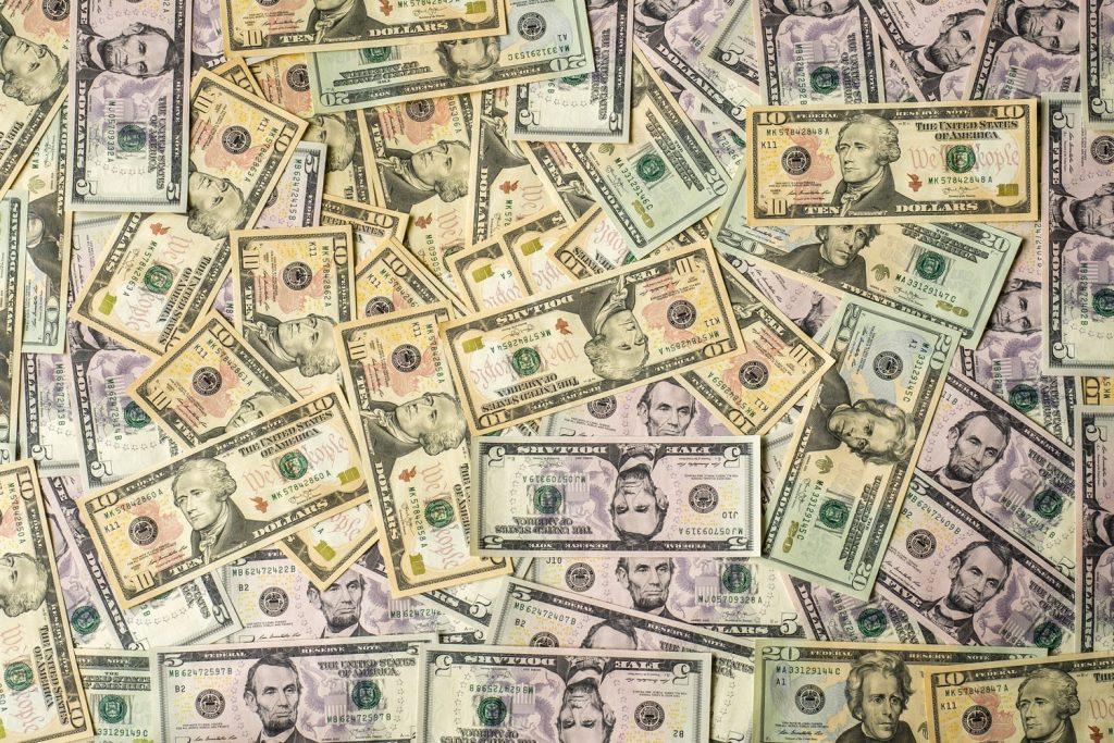 Dollar bills of various demonianations