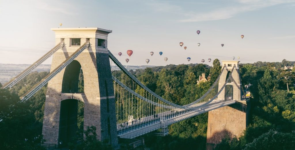 Clifton Suspension Bridge and Balloons in Bristol